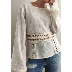 Vintage Boho Bell Sleeve Pullover - Natural Tan